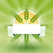 grain with label and sun - stock illustration