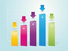Simple column color charts with indicators Stock Illustration