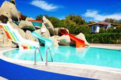 Aqua park with water slides in luxury hotel, antalya, turkey Stock Photos