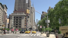 Empire State building from square in front of Flatiron building Stock Footage