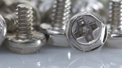 Steel bolts turning Stock Footage