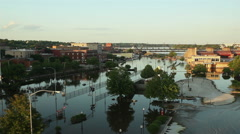 Mississippi flooding downtown Davenport Stock Footage