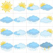 Set weather icons Stock Illustration