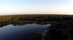 Lake at sunset, drone shot Stock Footage