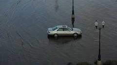 Mississippi flooding stranded car Stock Footage