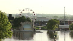 Mississippi floods outdoor theater and downtown Stock Footage
