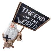 visionary with a sign the end of the world - stock photo