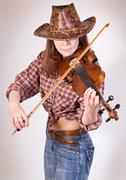 country girl plays the viola - stock photo