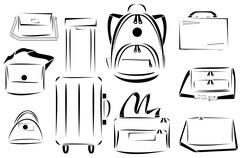 Design of bags icon vector set Stock Illustration