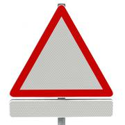 3d model of blank triangular signpost