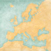 map of europe - blank map (vintage series) - stock illustration