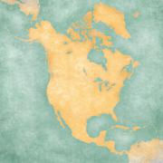 Stock Illustration of map of north america - blank map (vintage series)