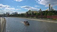 Establishing shot. Moscow.  Kremlin and embankment of Moskva river, panning. Stock Footage