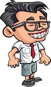 cartoon cute nerd boy - stock illustration
