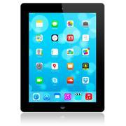 New iOS 7.1.2 homescreen on an black iPad display - stock photo