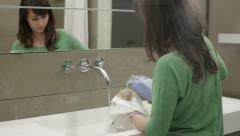 Handwashing with liquid detergent Stock Footage