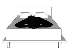 silhouette of a man in bed - stock illustration