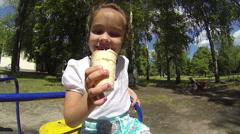 Child with ice cream Stock Footage