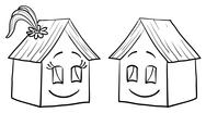 Stock Illustration of Houses girl and boy, contours