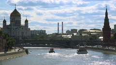 Moscow citysacape.  Cathedral of Christ the savior, Kremlin and Moskva river. Stock Footage