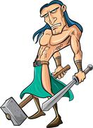 Cartoon barbarian with sword and hammer Stock Illustration