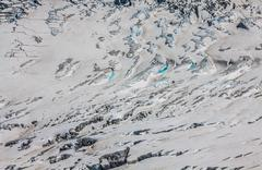 Bossons glacier from the summit of the aiguille du midi in the mont blanc mas Stock Photos