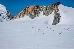 Base camp on cosmique route, chamonix, france Stock Photos