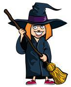 Stock Illustration of cartoon of little girl in a witches costume