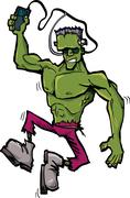 Stock Illustration of cartoon frankenstein monster with mp3 player