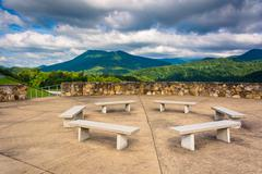 Benches and views of the appalachian mountains from bald mountain ridge sceni Stock Photos