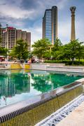 Buildings and reflecting pool at centennial olympic park in downtown atlanta, Stock Photos