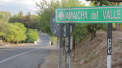 Amaicha del Valle, damaged traffic signal on desert road in western Argentina Stock Footage