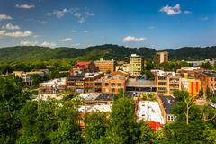 view of buildings from a parking garage in asheville, north carolina. - stock photo
