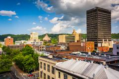 View of buildings from a parking garage in asheville, north carolina. Stock Photos