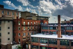 Stock Photo of view of old buildings from a parking garage in asheville, north carolina.