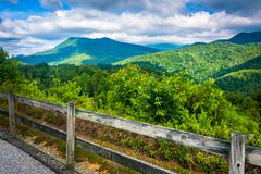 view of the appalachians from bald mountain ridge scenic overlook along i-26  - stock photo