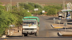 Amaicha del Valle - truck on desert highway in the Andean Alps - two takes. - stock footage