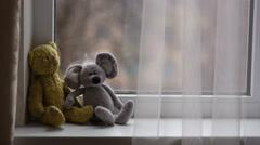 Toys on the Windowsill Stock Footage