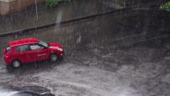 Rain on the Street Stock Footage