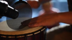 Recording djembe playing Stock Footage