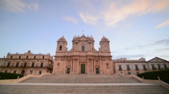 St Nicholas Cathedral at sunrise, Val di Noto, UNESCO, Sicily, Italy, Europe Stock Footage