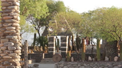 Inner courtyard of Pachamama Museum in Amaicha del Valle, stone construction Stock Footage