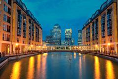 Stock Photo of london canary wharf at night