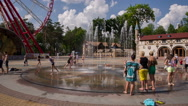 Stock Video Footage of Children Running Through The Fountain 2