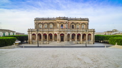 Timelapse of Noto Town Hall at sunrise, Noto, Val di Noto, Sicily, Italy Stock Footage