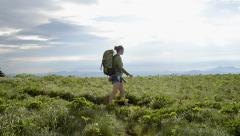 Hiker Passing By Close- Stock Footage