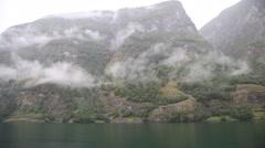 Sailing Along Norwegian Fjord, Flam Norway Stock Footage