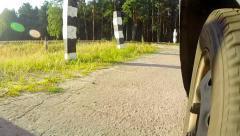 POV crossing rails. Stock Footage
