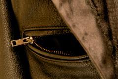 Black leather jacket pocket zipper Stock Photos