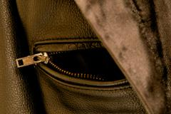 black leather jacket pocket zipper - stock photo
